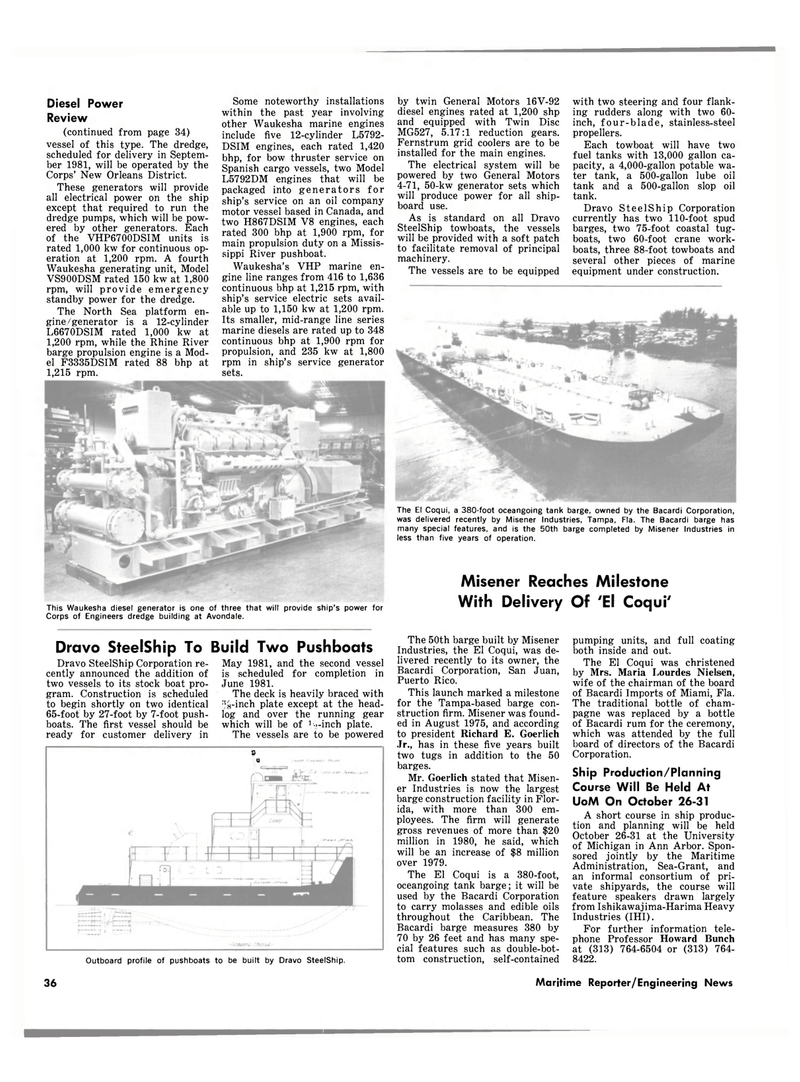Maritime Reporter Magazine, page 38,  Oct 15, 1980 New Orleans District