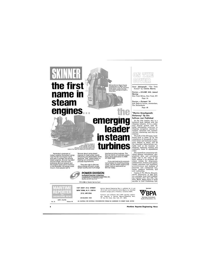 Maritime Reporter Magazine, page 4,  Nov 1980 ROBERT WARE