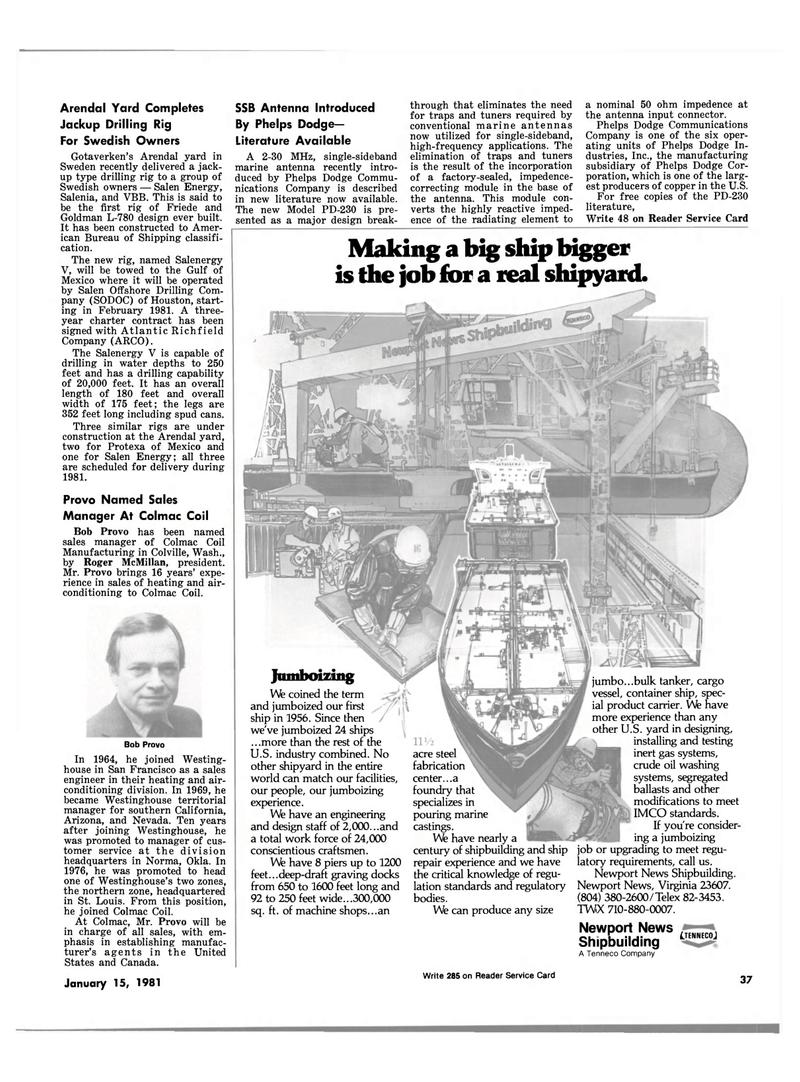 Maritime Reporter Magazine, page 35,  Jan 15, 1981 Washington