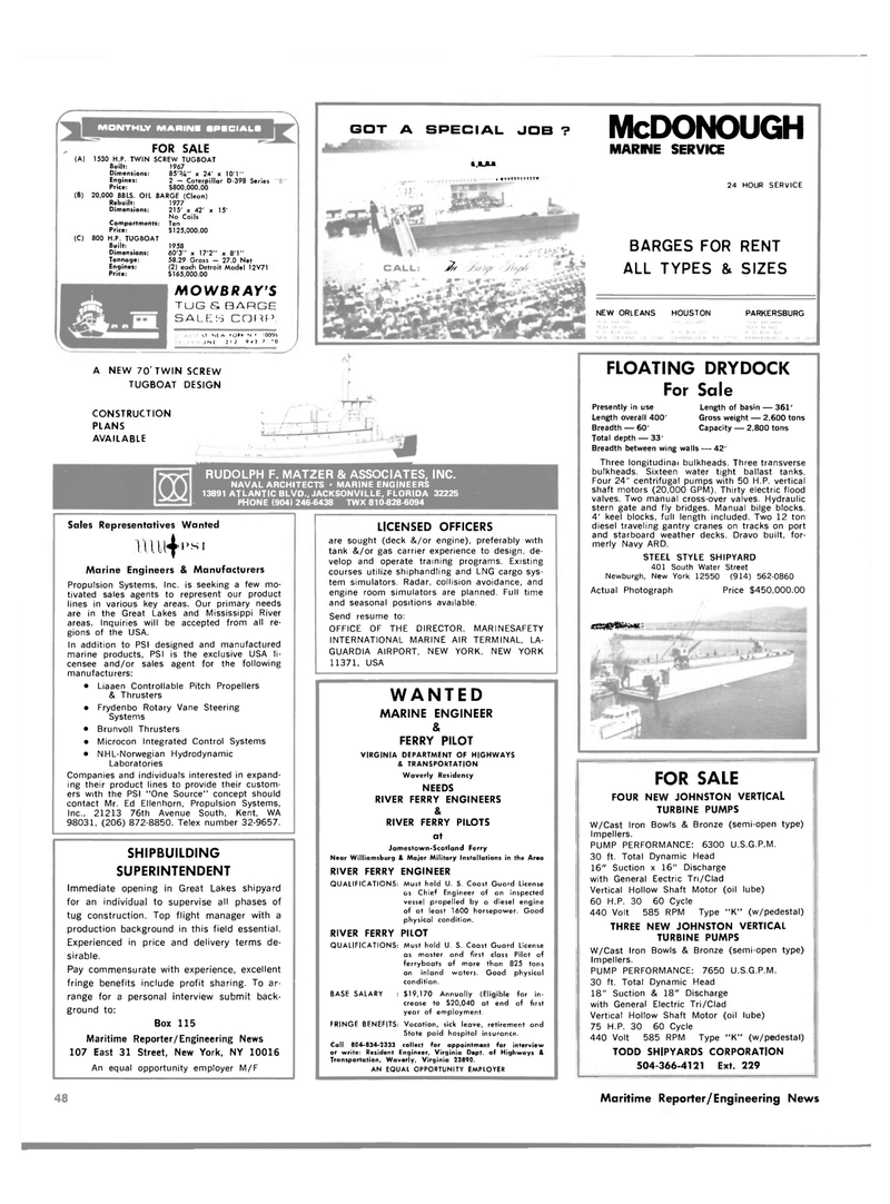 Maritime Reporter Magazine, page 48,  Jan 15, 1981 Virginia