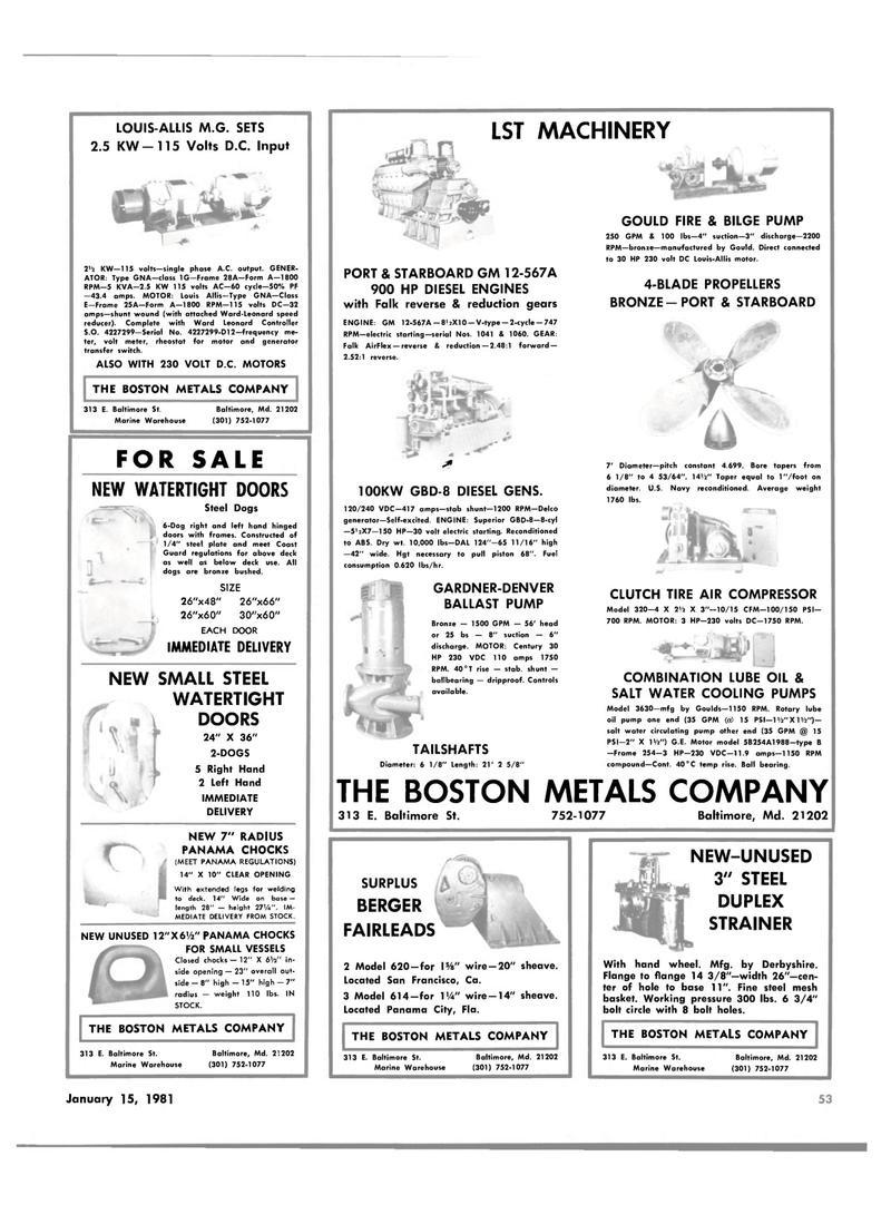 Maritime Reporter Magazine, page 53,  Jan 15, 1981 LOUIS-ALUS M.G. SETS