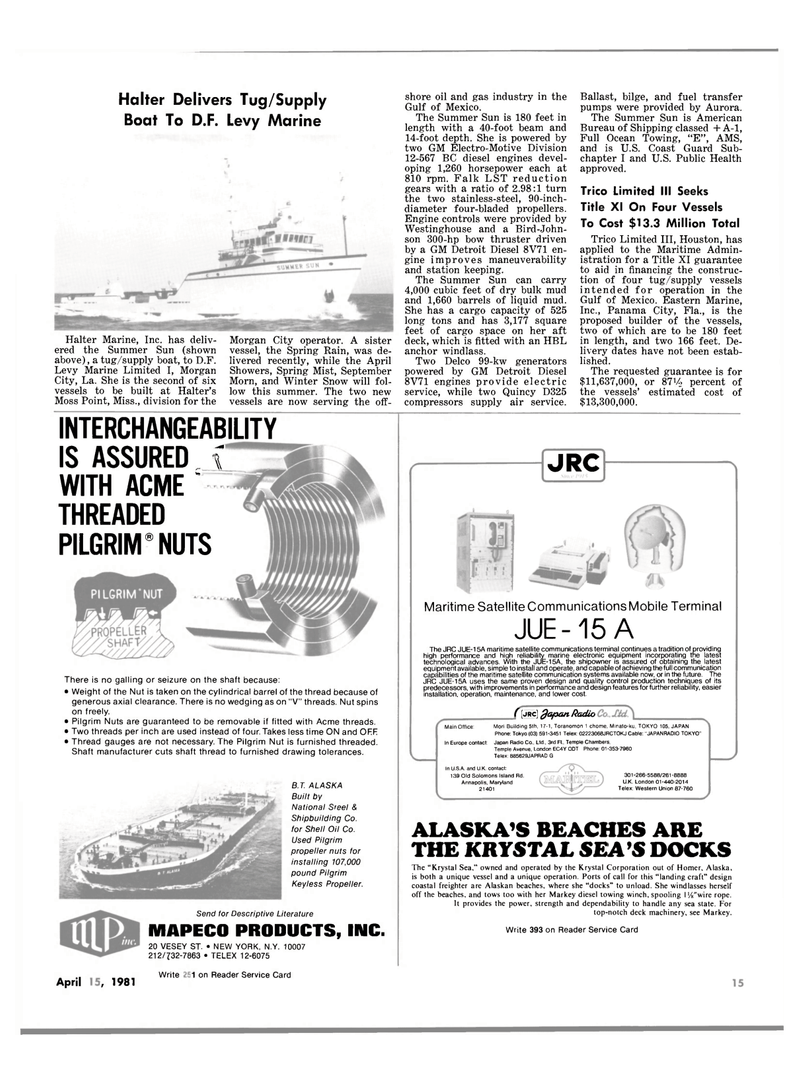 Maritime Reporter Magazine, page 13,  Apr 15, 1981 New York