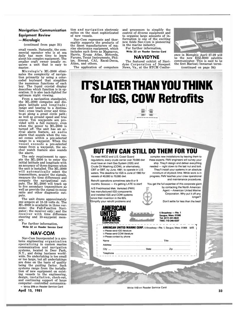 Maritime Reporter Magazine, page 31,  Apr 15, 1981 IMCO