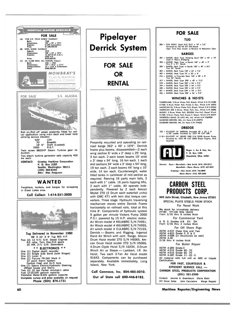 Maritime Reporter Magazine, page 58,  Apr 15, 1981 Washington
