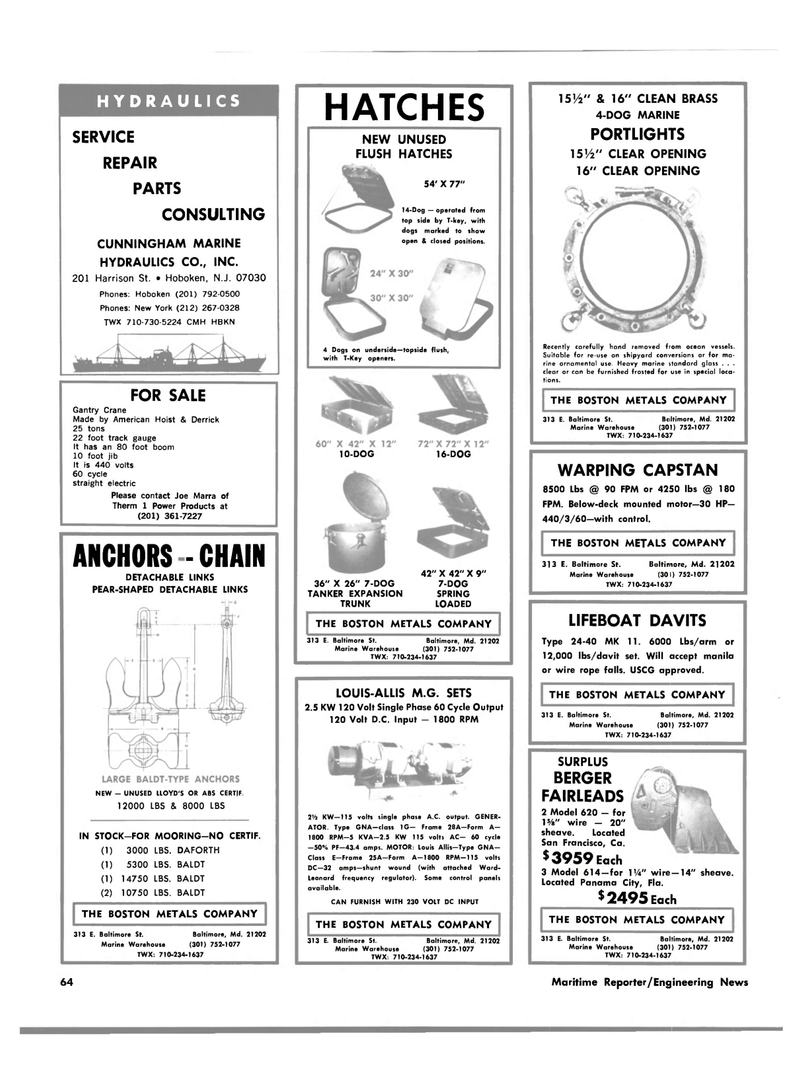 Maritime Reporter Magazine, page 62,  Apr 15, 1981 LOUIS-ALLIS M.G. SETS