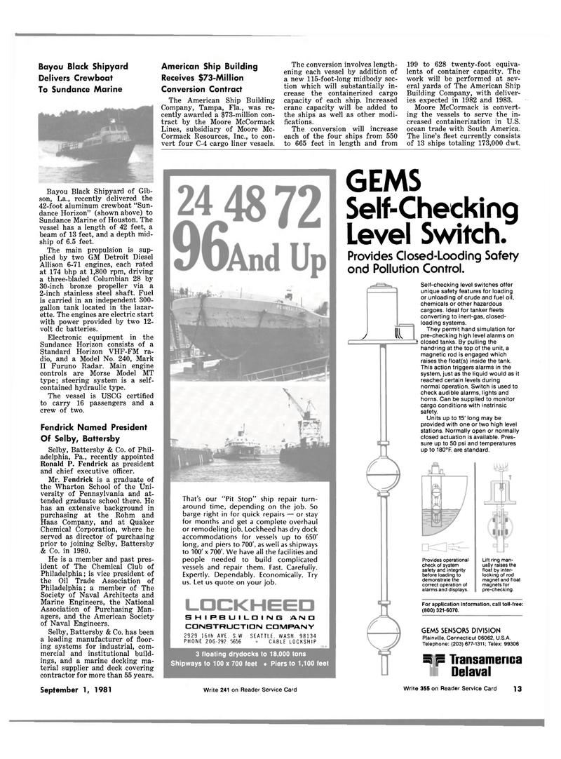 Maritime Reporter Magazine, page 11,  Sep 1981 Washington