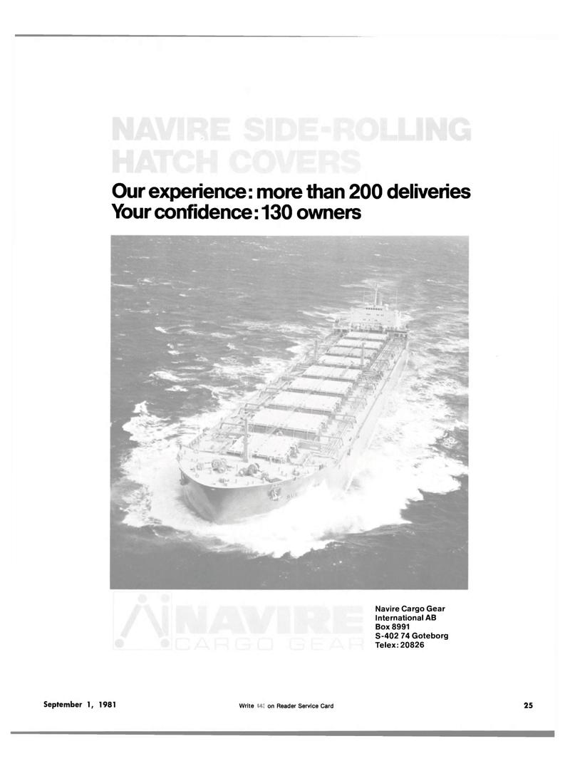 Maritime Reporter Magazine, page 23,  Sep 1981 Navire Cargo Gear International A.B