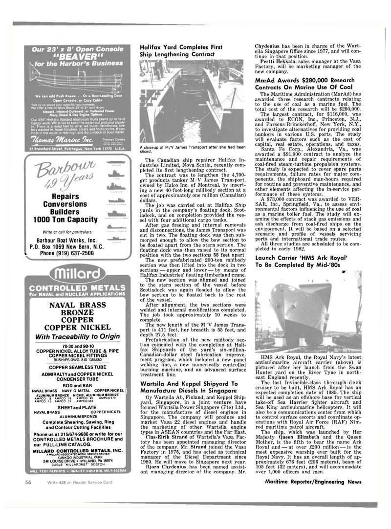Maritime Reporter Magazine, page 54,  Sep 1981 Nova Scotia