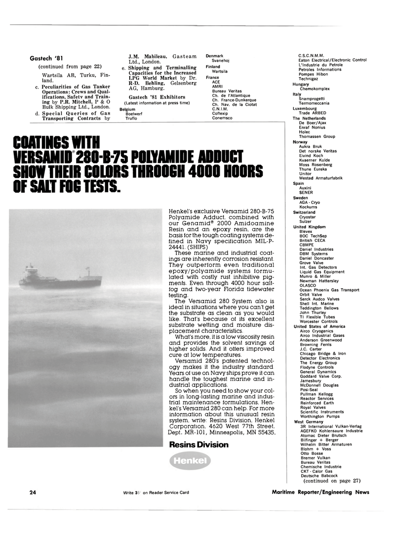 Maritime Reporter Magazine, page 22,  Oct 1981 Versamid 280 System