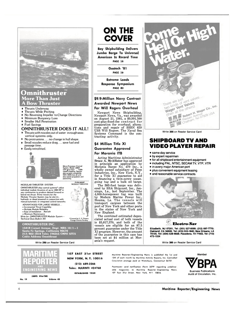Maritime Reporter Magazine, page 2,  Oct 1981 Virginia