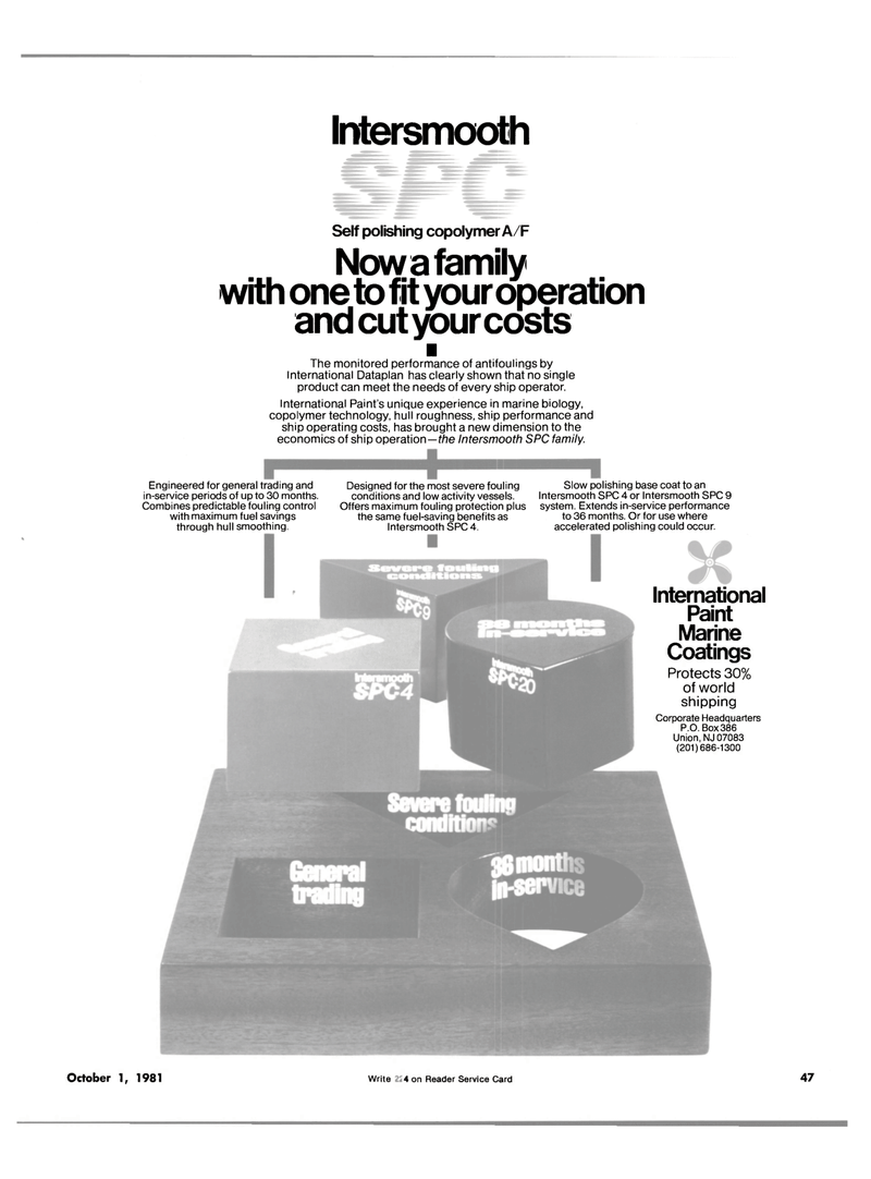 Maritime Reporter Magazine, page 41,  Oct 1981 copolymer technology