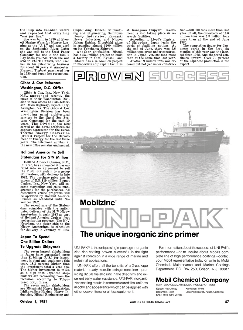 Maritime Reporter Magazine, page 51,  Oct 1981 Virginia