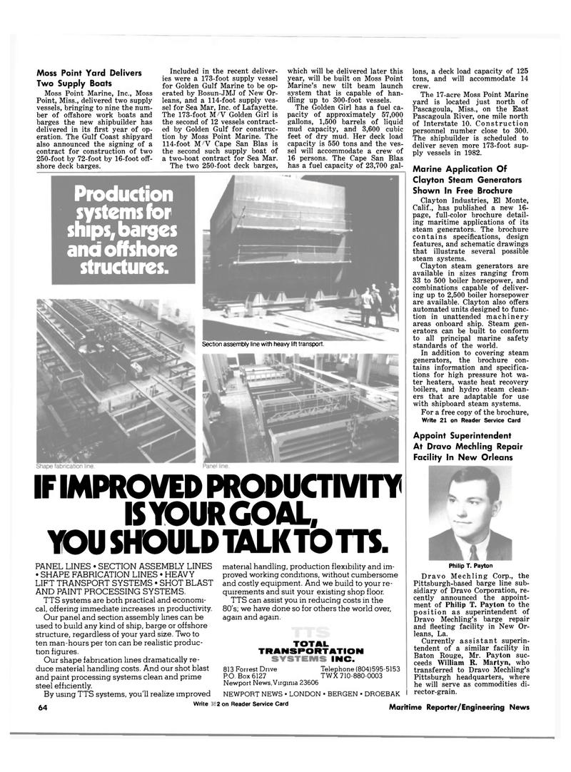Maritime Reporter Magazine, page 58,  Oct 1981 Virginia