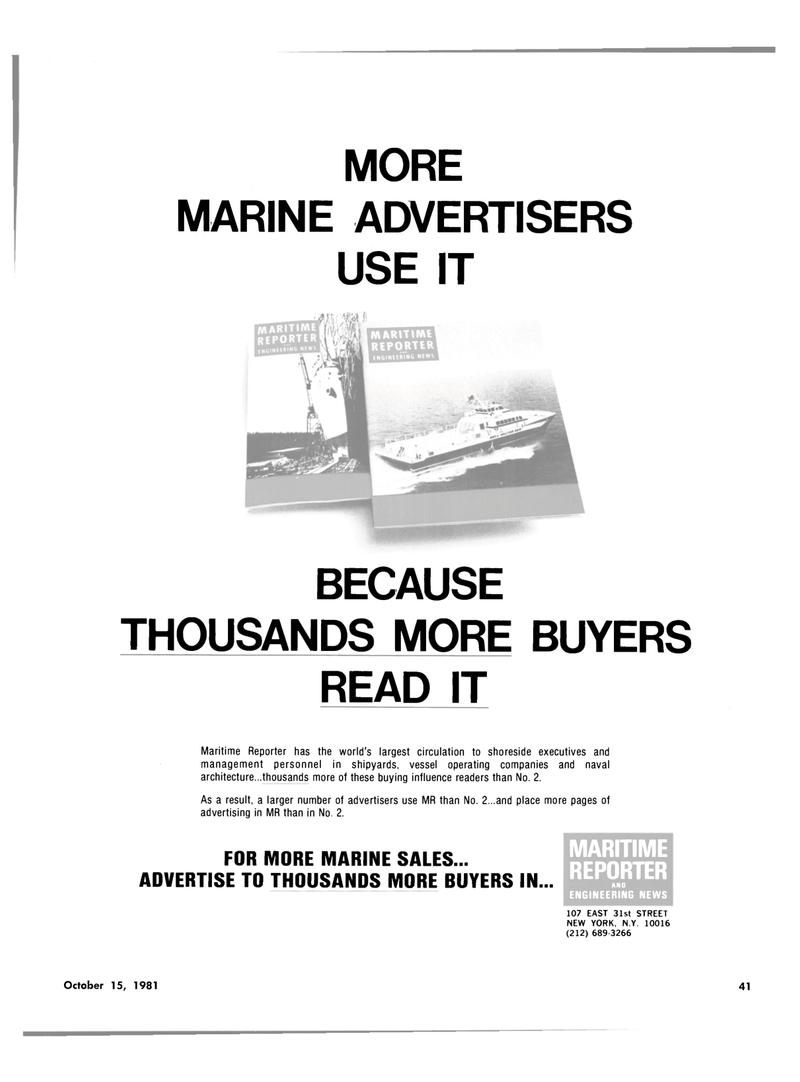 Maritime Reporter Magazine, page 37,  Oct 15, 1981 New York