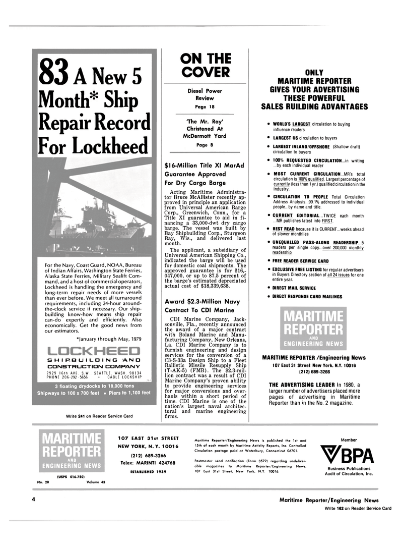 Maritime Reporter Magazine, page 2,  Oct 15, 1981 Maritime Reporter/Engineering News