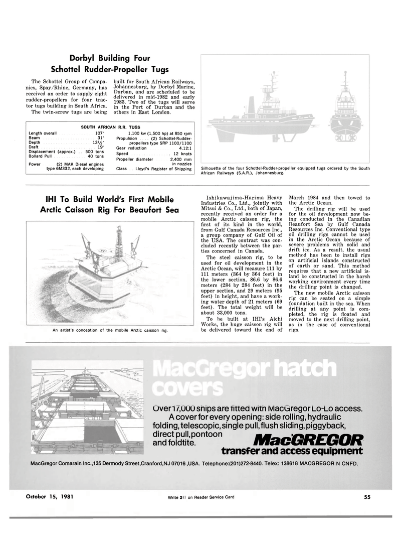 Maritime Reporter Magazine, page 51,  Oct 15, 1981 Conventional type oil drilling rigs