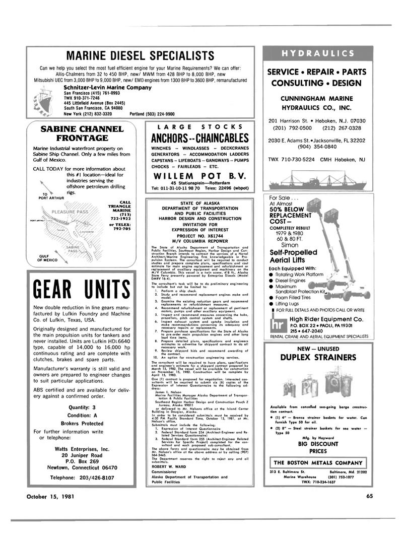 Maritime Reporter Magazine, page 61,  Oct 15, 1981 California