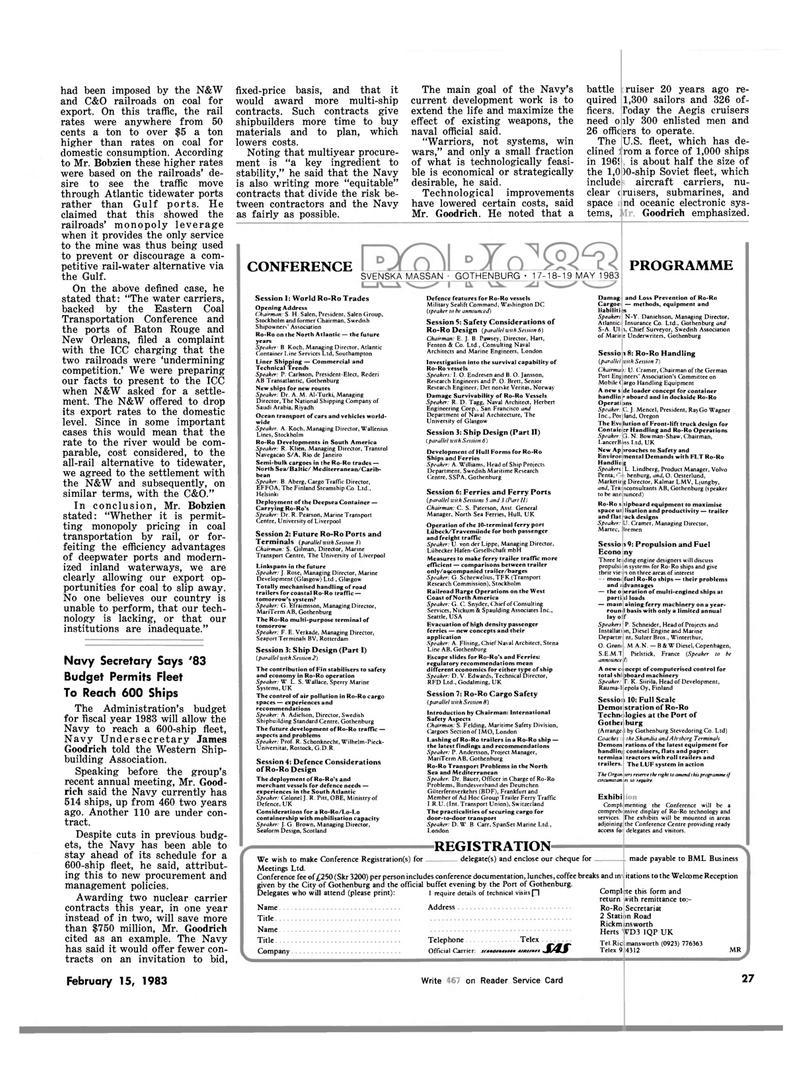 Maritime Reporter Magazine, page 23,  Feb 15, 1983
