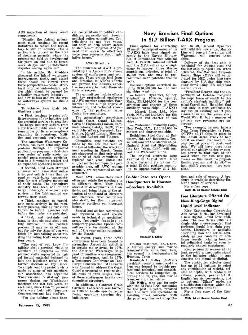 Maritime Reporter Magazine, page 33,  Feb 15, 1983