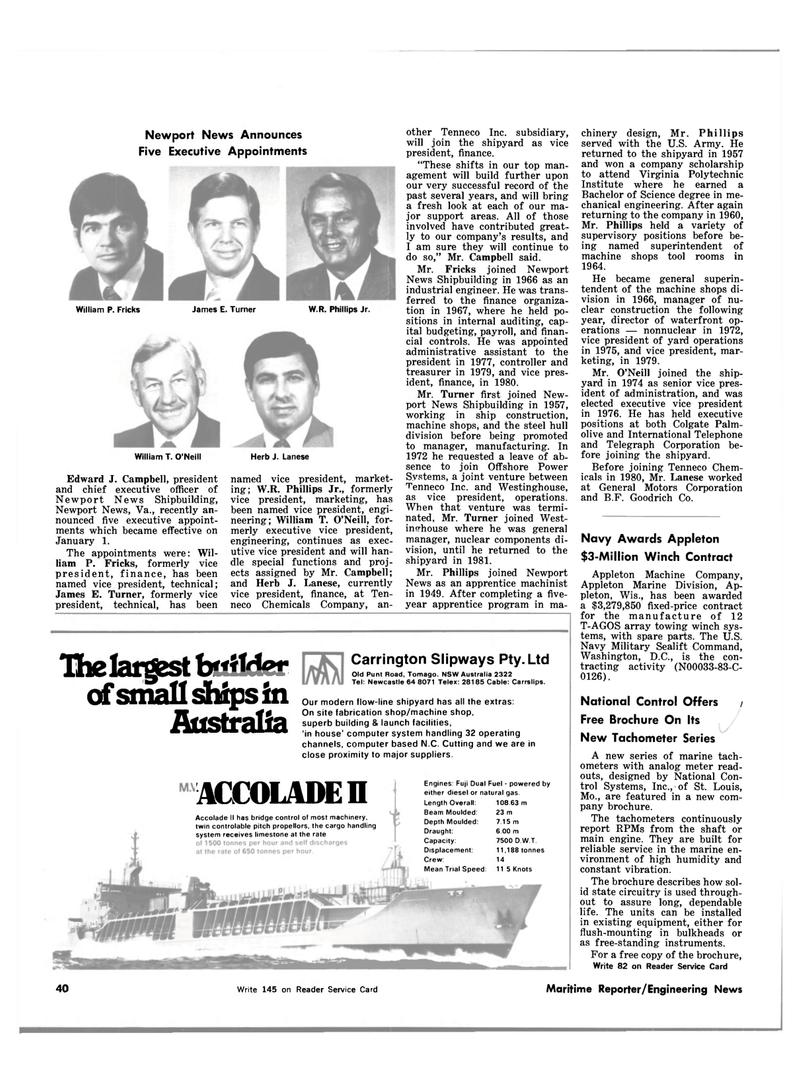 Maritime Reporter Magazine, page 36,  Feb 15, 1983