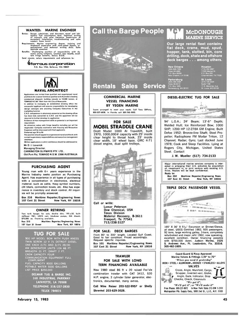 Maritime Reporter Magazine, page 41,  Feb 15, 1983