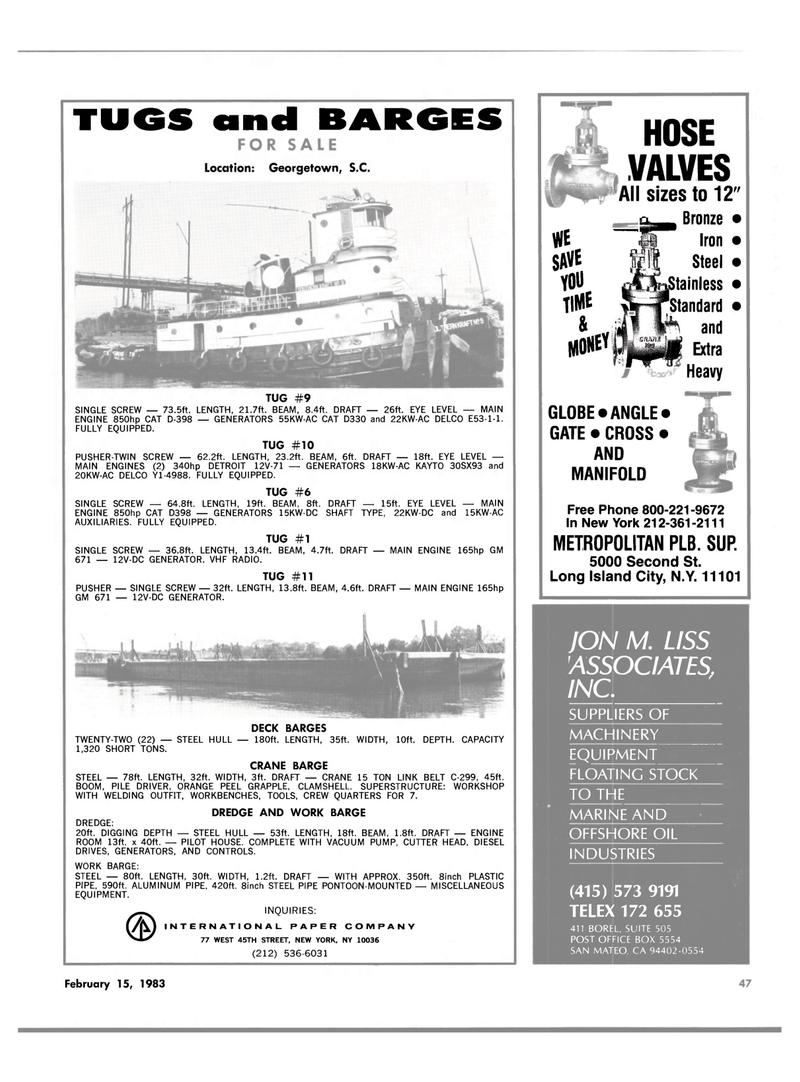 Maritime Reporter Magazine, page 45,  Feb 15, 1983