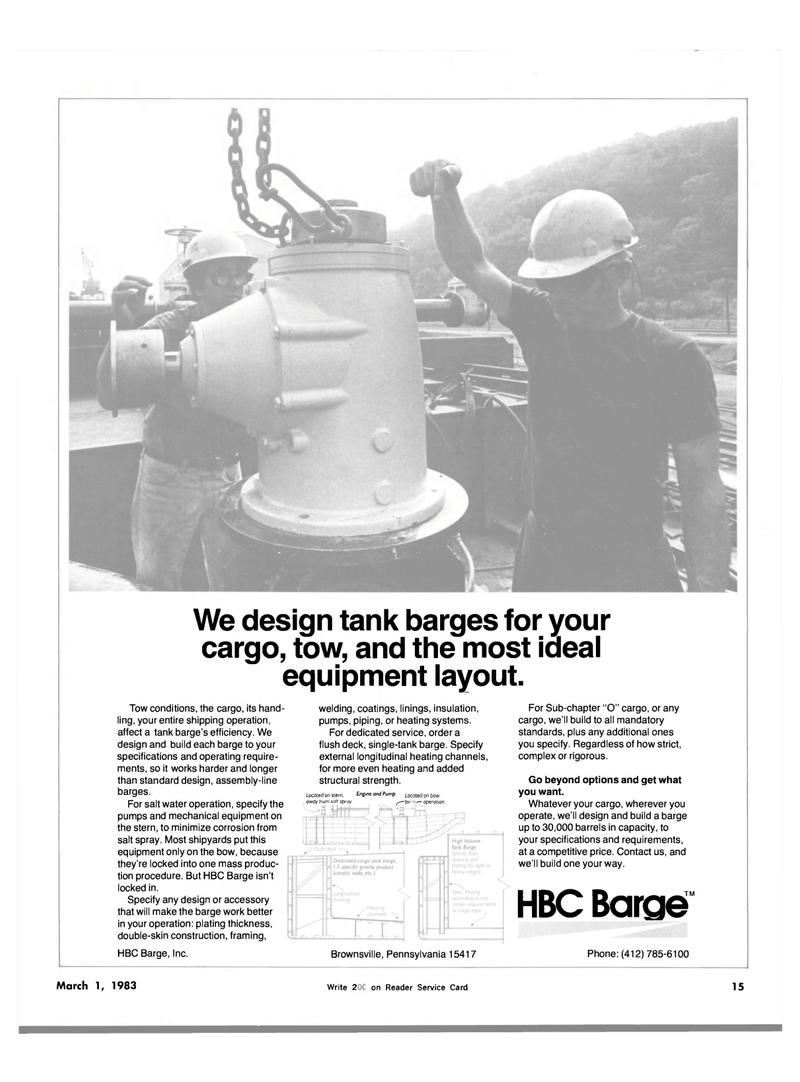 Maritime Reporter Magazine, page 13,  Mar 1983 HBC Barge Inc.