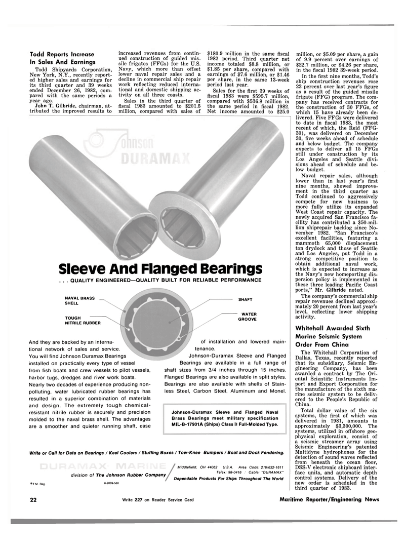 Maritime Reporter Magazine, page 20,  Mar 1983 Flanged Naval Brass Bearings