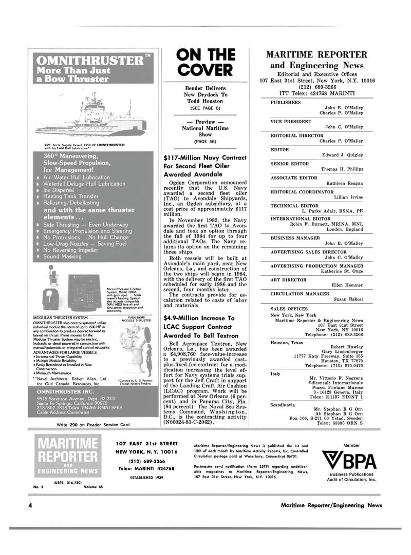 Maritime Reporter Magazine, page 2,  Mar 1983 California