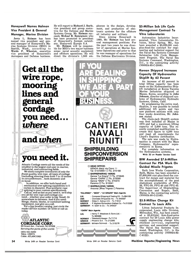 Maritime Reporter Magazine, page 54,  Mar 1983