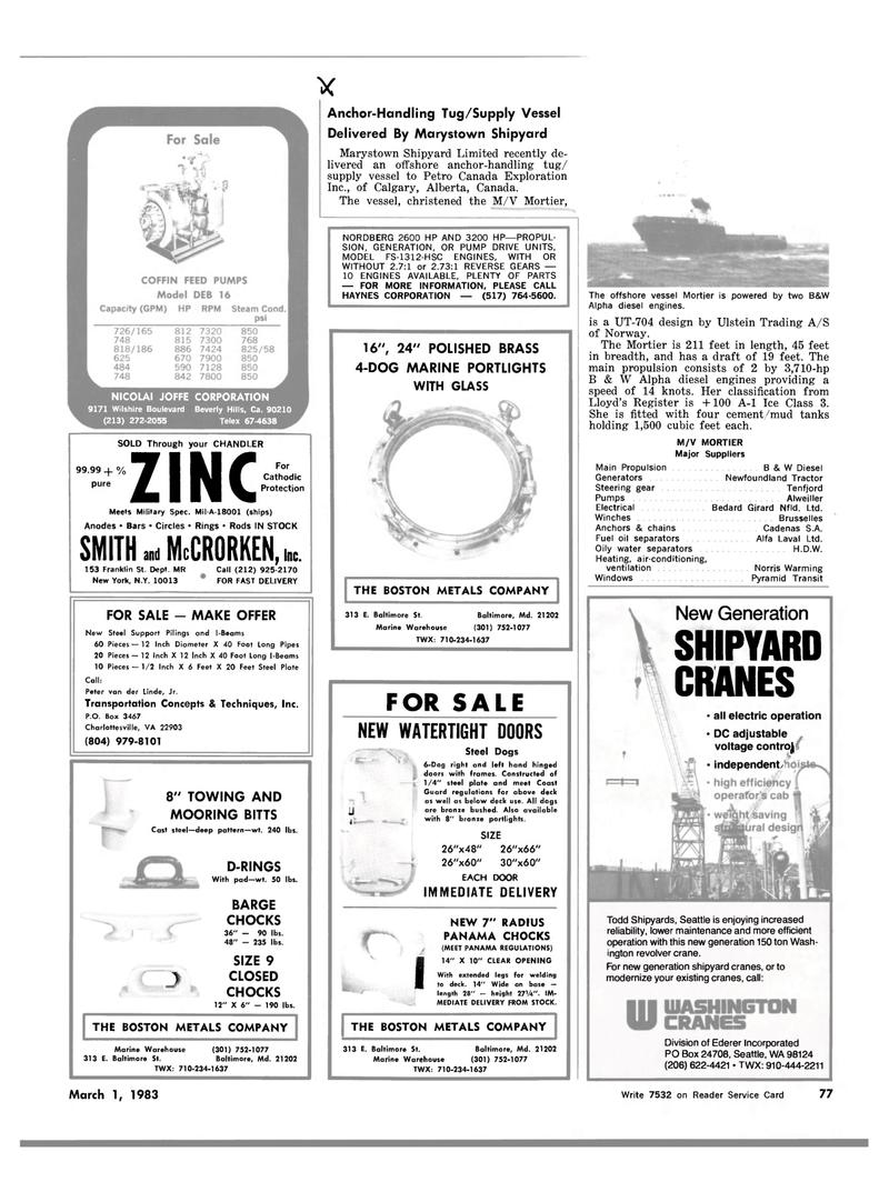 Maritime Reporter Magazine, page 4th Cover,  Mar 1983 Alberta