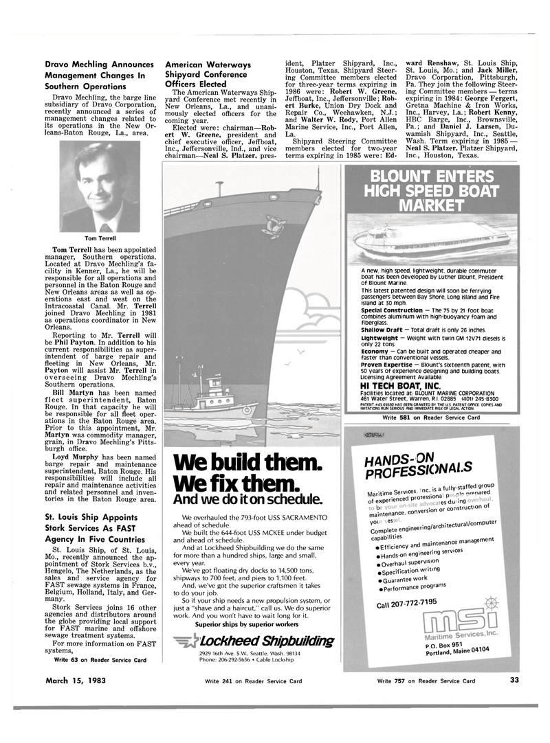 Maritime Reporter Magazine, page 33,  Mar 15, 1983 Maine