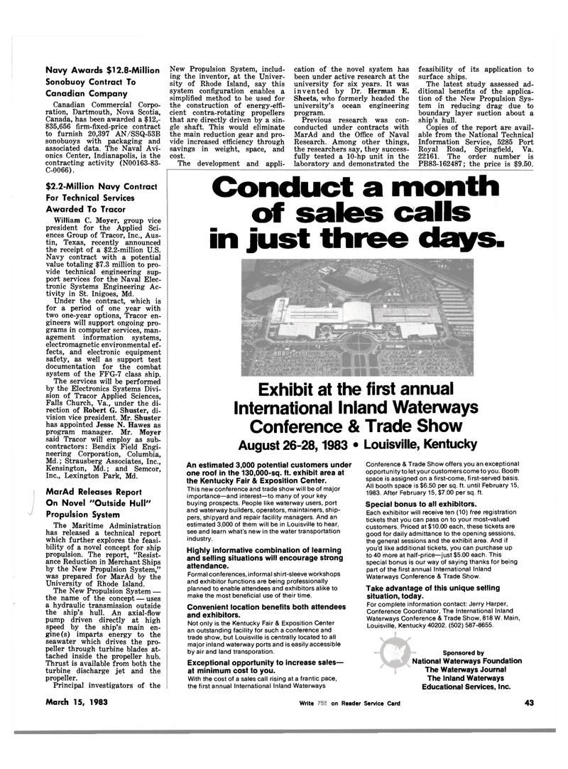 Maritime Reporter Magazine, page 45,  Mar 15, 1983