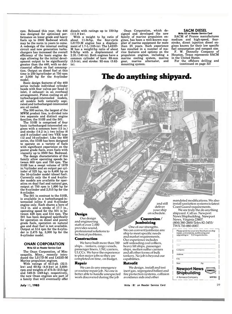 Maritime Reporter Magazine, page 23,  Jul 15, 1983