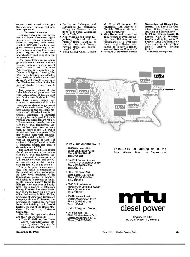 Maritime Reporter Magazine, page 25,  Dec 15, 1983