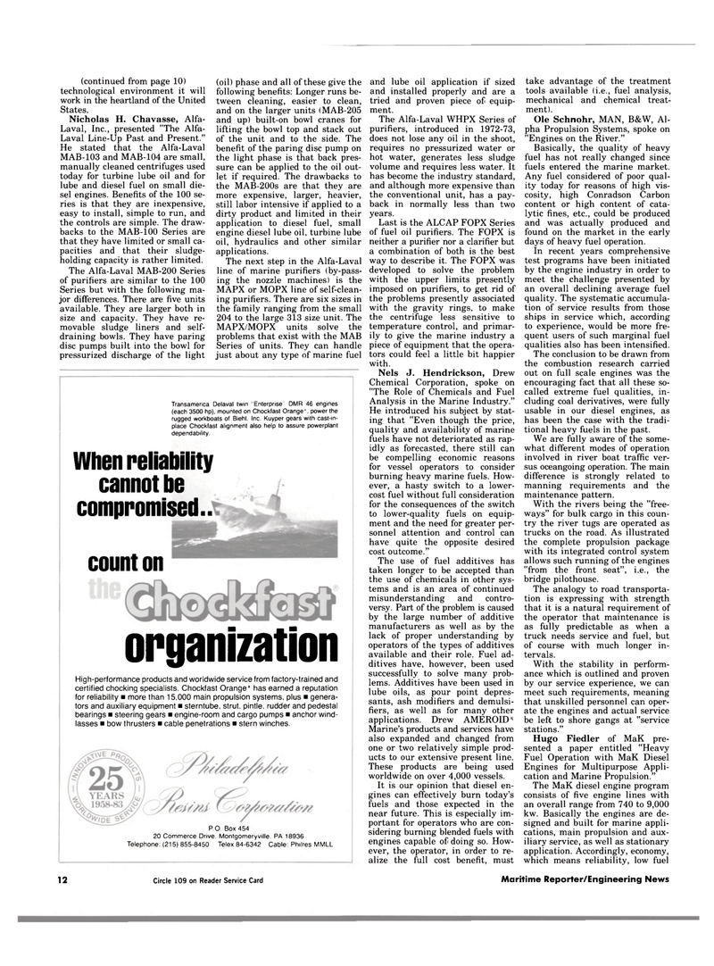 Maritime Reporter Magazine, page 10,  Jan 1984 fuel oil purifiers