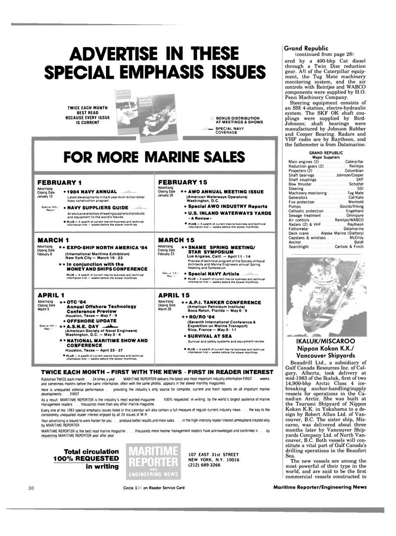 Maritime Reporter Magazine, page 30,  Jan 1984 New York