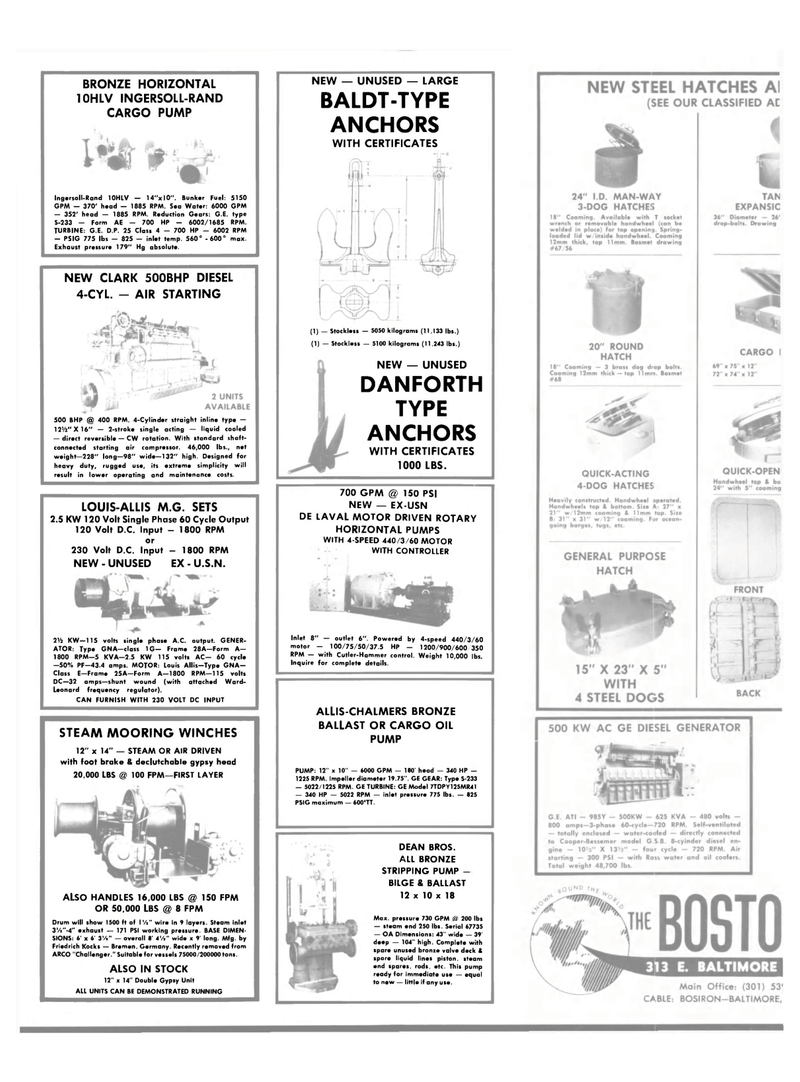 Maritime Reporter Magazine, page 32,  Jan 1984 LOUIS-ALLIS M.G. SETS