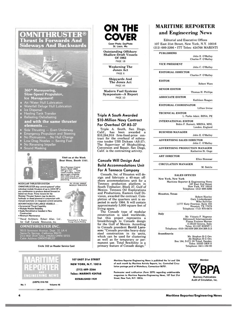 Maritime Reporter Magazine, page 2,  Jan 1984 Missouri