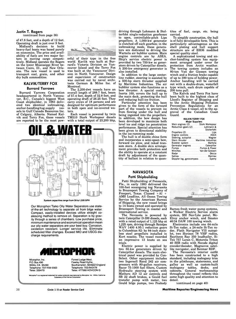 Maritime Reporter Magazine, page 38,  Jan 1984 West Coast