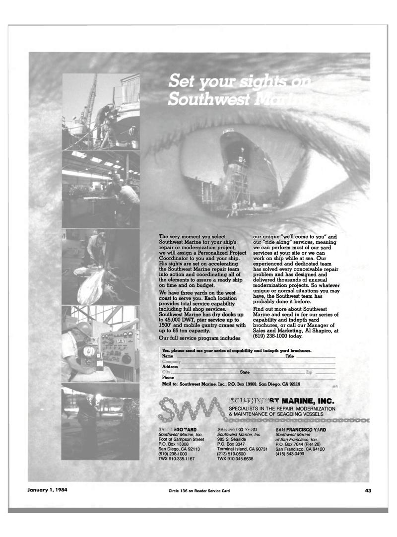 Maritime Reporter Magazine, page 43,  Jan 1984 California