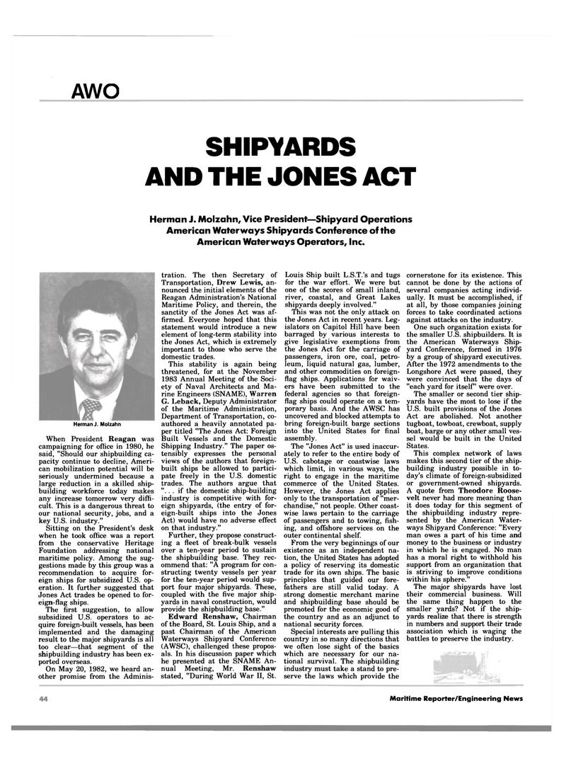 Maritime Reporter Magazine, page 44,  Jan 1984 Drew Lewis
