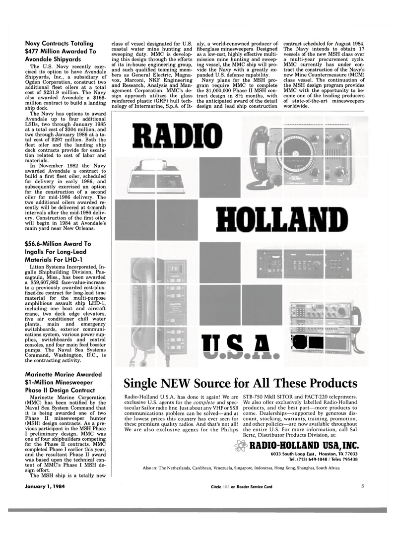 Maritime Reporter Magazine, page 3,  Jan 1984 Texas