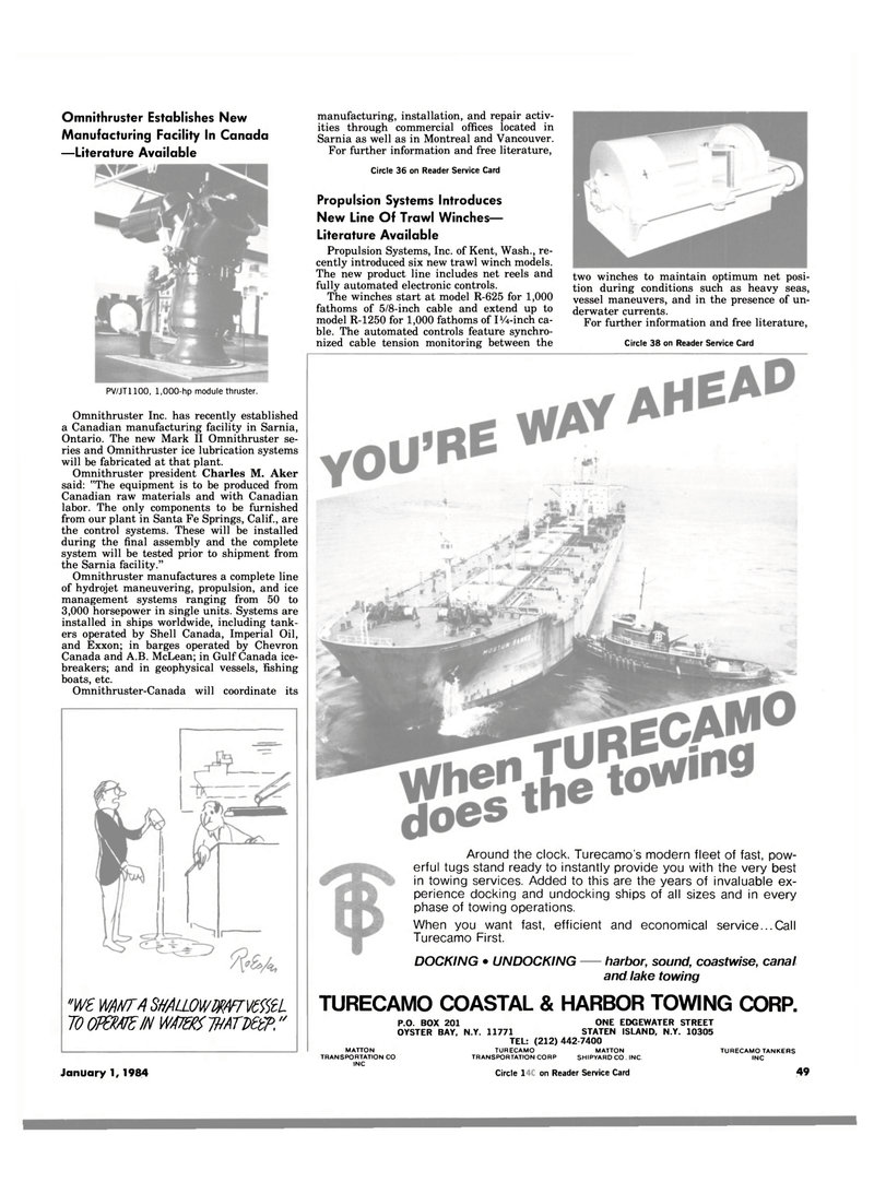 Maritime Reporter Magazine, page 49,  Jan 1984 California