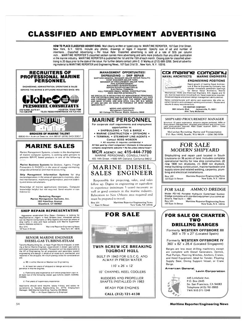 Maritime Reporter Magazine, page 54,  Jan 1984 California