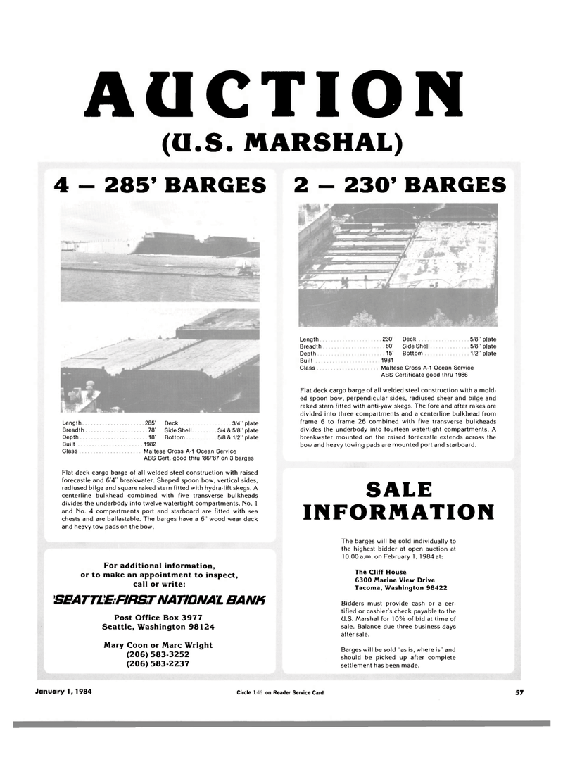 Maritime Reporter Magazine, page 57,  Jan 1984 Ocean Service ABS Cert