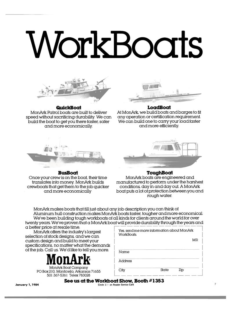 Maritime Reporter Magazine, page 5,  Jan 1984 Monticello