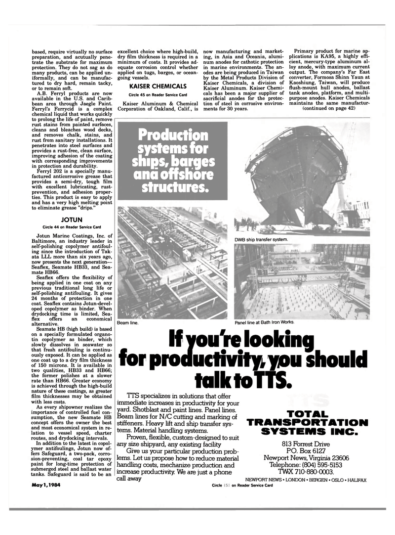 Maritime Reporter Magazine, page 39,  May 1984