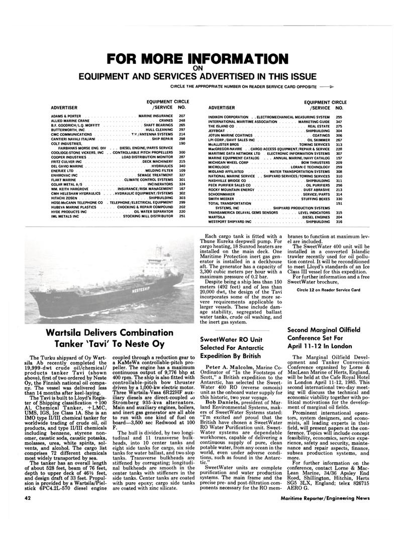 Maritime Reporter Magazine, page 42,  Feb 15, 1985