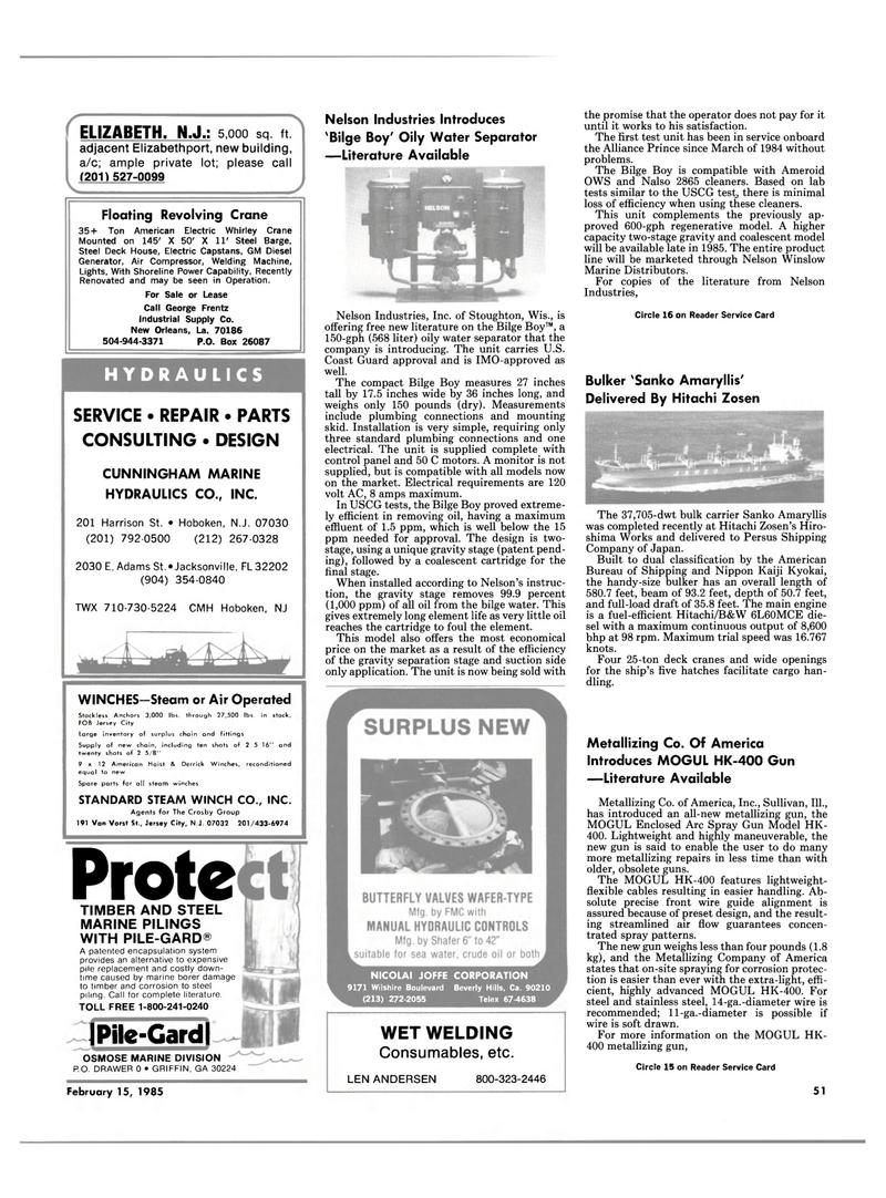 Maritime Reporter Magazine, page 49,  Feb 15, 1985